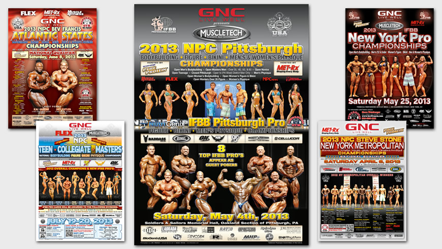 IFBB & NPC Competition Advertisements, Self-Mailers, and Posters